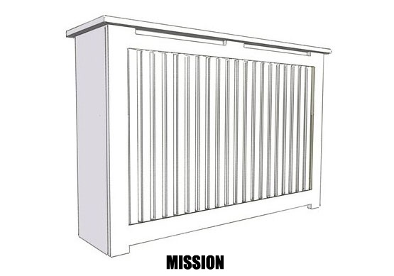 Example of our Mission Grill on a Radiator Cover